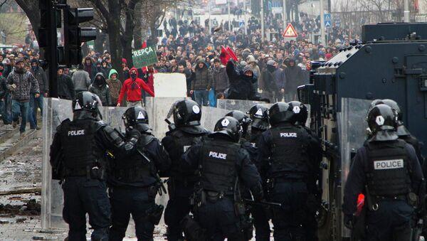 Беспорядки в столице края Косово Приштине. 27 января 2015