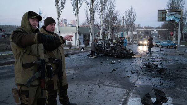 Последствия обстрела Донецка 4 февраля 2015. Архивное фото