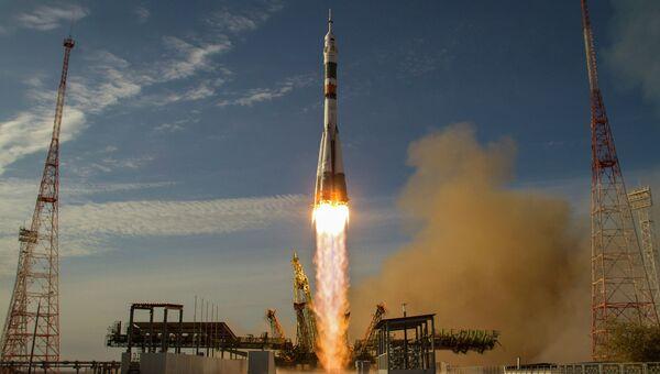 Запуск ракеты Союз с космодрома Байконур. Архивное фото