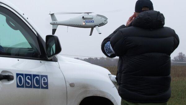 Сотрудники ОБСЕ следит за пуском дрона. Архивное фото