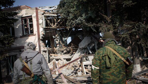 Последствия обстрела Горловки. 14 февраля 2015