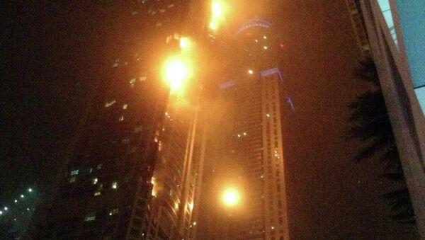Пожар на одной из башен небоскреба Torch в Дубае