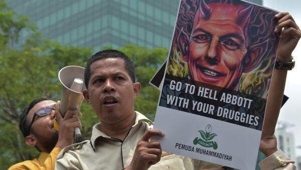 Индонезийские студенты протестуют против высказываний премьер-министра Австралии Тони Эббота. 25 февраля 2015