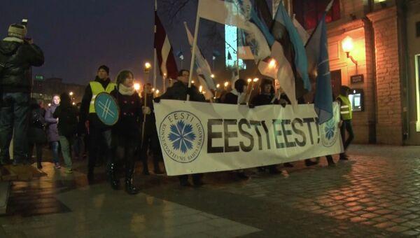 Эстонские националисты отметили День независимости страны факельным маршем