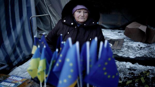 Продажа флажков Евросоюза и Украины в Киеве, Украина