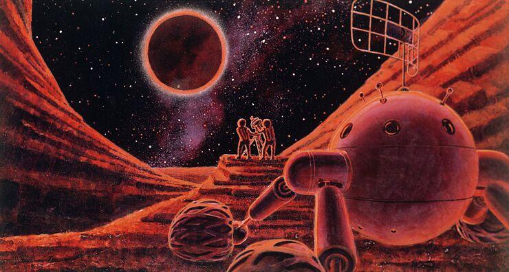 Рисунок Солнечное затмение на Луне работы летчика-космонавта Алексея Леонова и художника-фантаста Андрея Соколова. 1968 год