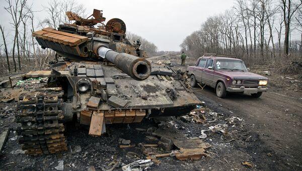 Брошенный танк украинской армии в Чернухино