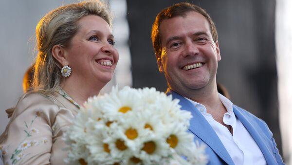 Медведевы на празднике Дня семьи, любви и верности. Архивное фото