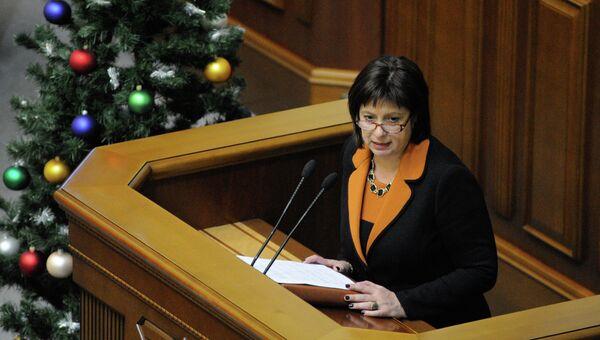 Министр финансов Украины Наталья Яресько на заседании Верховной Рады Украины