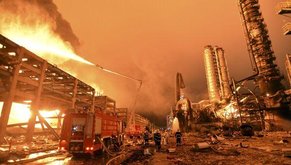 Пожар на химзаводе в Китае