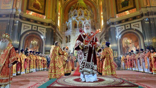 Патриарх Московский и всея Руси Кирилл проводит праздничное пасхальное богослужение в храме Христа Спасителя в Москве. Архивное фото