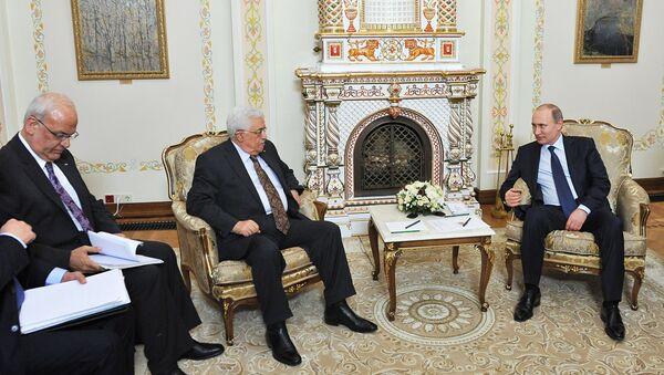 Президент РФ В.Путин встретился с президентом Палестины М. Аббасом