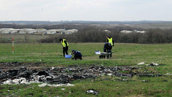 Голландские эксперты работают на месте крушения малайзийского самолета Boeing, выполнявшего рейс MH17 Амстердам — Куала-Лумпур. Архивное фото