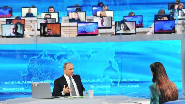 Прямая линия с президентом России Владимиром Путиным. Архивное фото