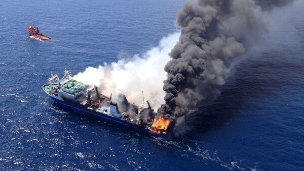 Пожар на судне Олег Найденов в канарском порту Лас-Пальмас