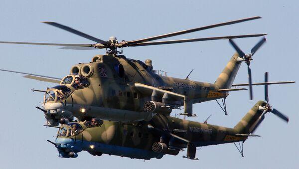 Ударные вертолеты МИ-24 во время репетиции военно-морского парада в ознаменование 70-летия Победы в Великой Отечественной войне 1941-1945 годов в Балтийске