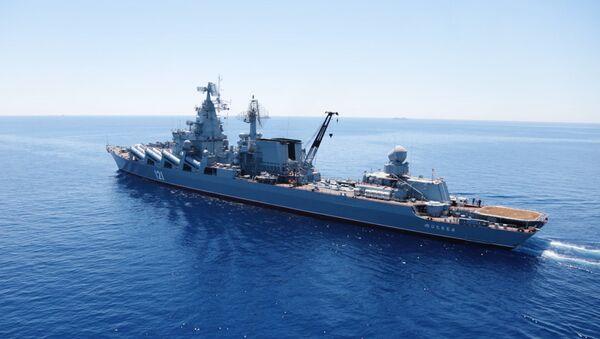 Гвардейский ракетный крейсер (ГРКР) Москва во время совместных военных учений России и Китая в Средиземном море Морское взаимодействие 2015
