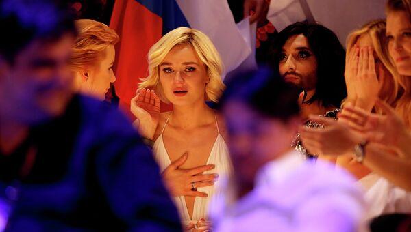 Полина Гагарина во время голосования на конкурсе Евровидение-2015