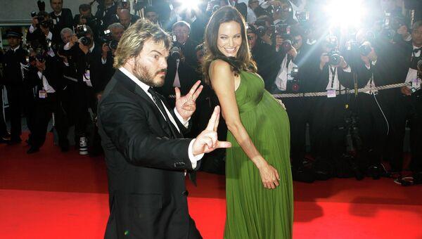 Актер Джек Блэк и Анджелина Джоли на премьере мультфильма Кунг Фу Панда. Архивное фото