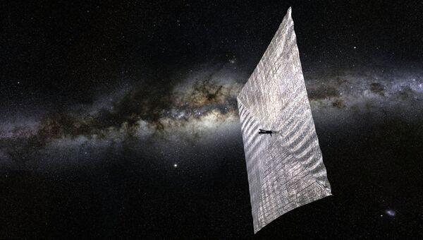 Так художник представил себе зонд-парусник Lightsail-A в космосе
