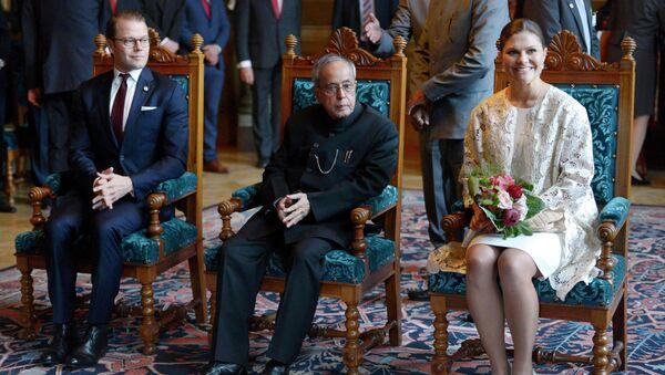 Президент Индии Пранаб Мукерджи с членами шведской королевской семьи. 2 июня 2015