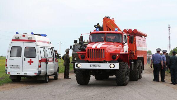 Машины пожарной и скорой помощи на территории поселка Урман
