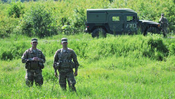 Американские военные во время учений на Украине. Архивное фото.