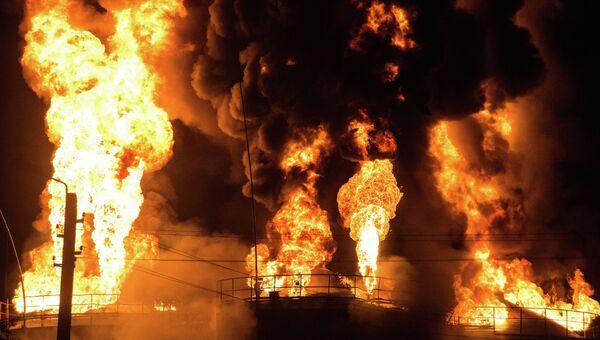 Пожар на нефтебазе БРСМ-нефть в Киевской области