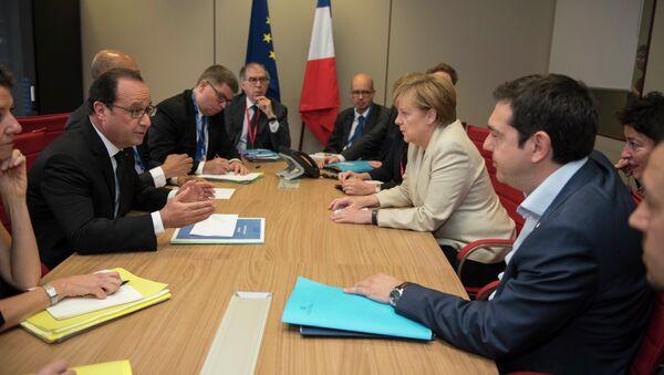 Встреча президента Франции Франсуа Олланда, канцлера Германии Ангелы Меркель и премьер-министра Греции Алексиса Ципраса