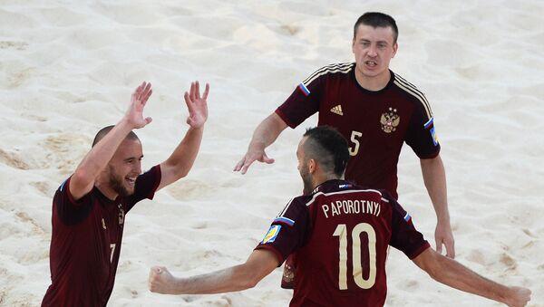 Игроки сборной России по пляжному футболу на I Европейских играх. Архивное фото