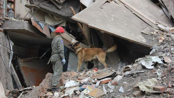 На месте обрушения дома в Перми