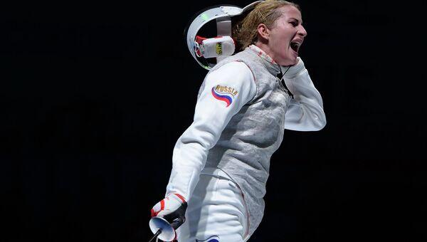 Российская рапиристка Инна Дериглазова на чемпионате мира по фехтованию в Москве