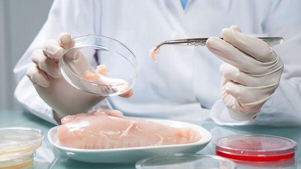 Проверка мяса в лаборатории. Архивное фото