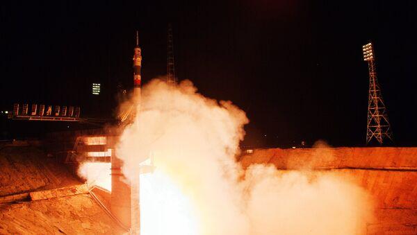 Старт космического корабля Союз ТМА-17М с космодрома Байконур
