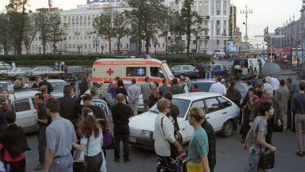 На Пушкинской площади после взрыва в подземном переходе