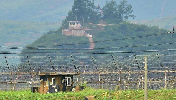 Пограничные посты Северной и Южной Кореи. 21 августа 2015
