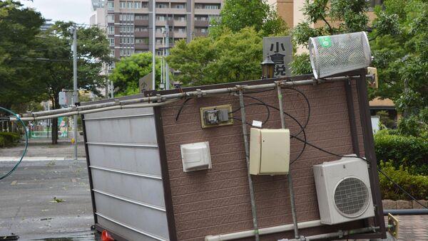 Последствия тайфуна Гони в Китакюсю, Япония