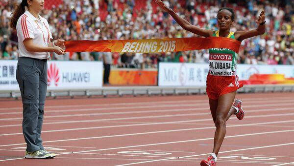 Легкоатлетка из Эфиопии Маре Дибаба, завоевавшая золотую медаль на марафоне в Пекине