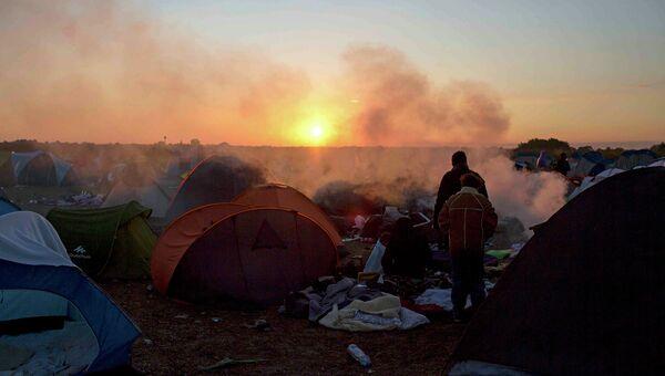 Лагерь беженцев в Венгрии. 9 сентября 2015