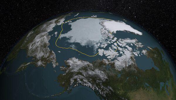 Карта льдов на 13 сентября 2015 года, оранжевой линией отмечены их зимние границы