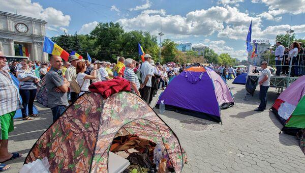 Лагерь протестующих в Молдавии. Архивное фото