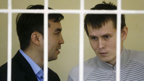 Россияне Евгений Ерофеев и Александр Александров в Голосеевском районном суде Киева, Украина. 29 сентября 2015