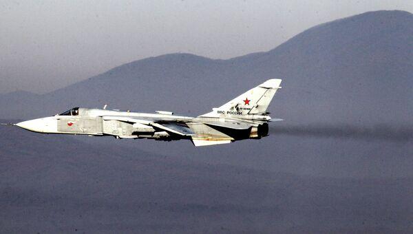Фронтовой бомбардировщик Су-24. Архивное фото