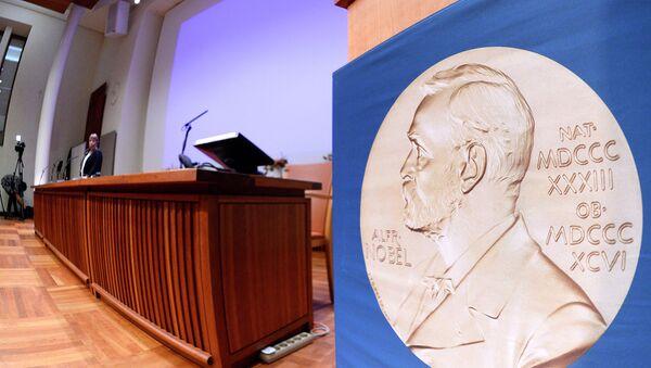 Зал, где проходит пресс-конференция Нобелевского комитета