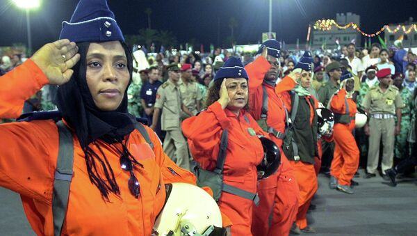 Пилоты ВВС Ливии во время военного парада в Триполи