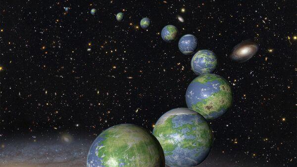 Модели еще не родившихся двойников Земли в представлении художника