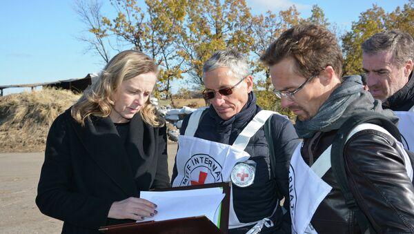 Красный крест и руководитель рабочей группы по обмену пленными ЛНР Ольга Кобцева. Архивное фото
