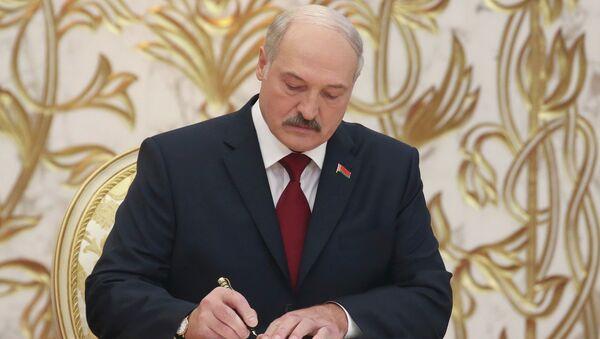 Избранный президент Белоруссии Александр Лукашенко во время церемония инаугурации президента Республики Беларуссии. Архивное фото