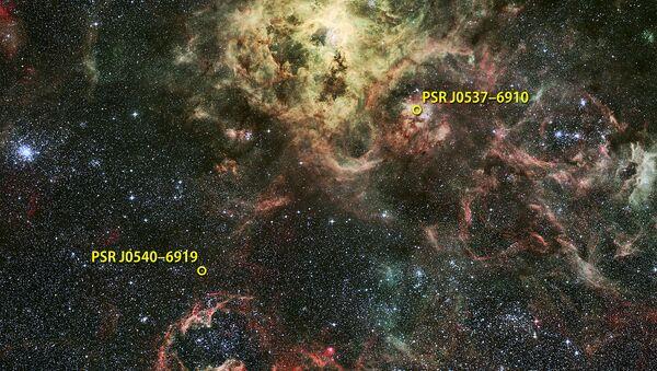 Гамма-пульсар PSR J0540-6919 на окраине туманности Тарантул