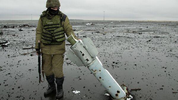 Ополченец Донецкой народной республики на территории Донецкого аэропорта